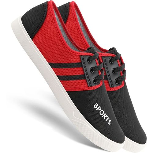 Chevit 168 Smart Red Lace-Ups Casuals for Men Sneakers For Men(Red, Black)
