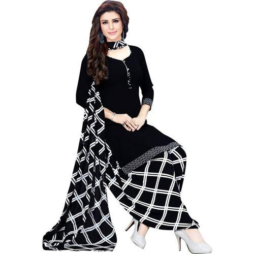 Saara Black Crepe Checkered Salwar Suit Material