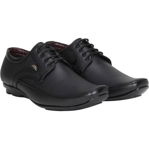 Kraasa Black Synthetic Leather Lace Up Formal Shoes