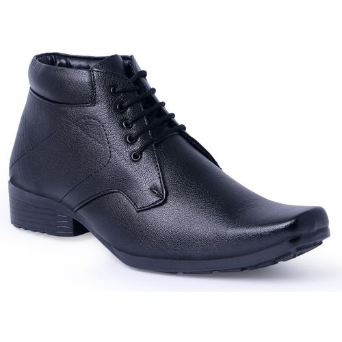 Kzaara Black Synthetic Leather Lace Up Formal Shoes