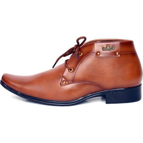 Aadi Men's Tan Synthetic Party Formal Derby Shoes