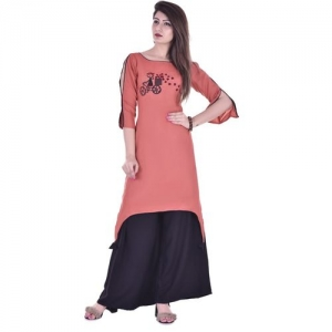 Clothy N Wave Women Applique Trail Cut Kurta(Pink)