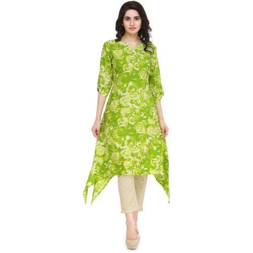 Indibelle Women Floral Print Trail Cut Kurta(Light Green)