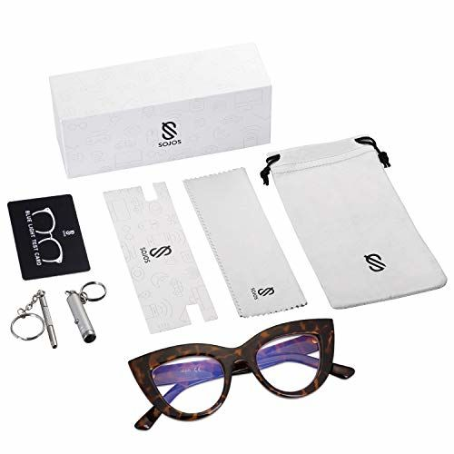 SOJOS Blue Light Blocking Glasses Retro Vintage Cateye Eyeglasses for Women Plastic Frame Hipster Party SJ5025 with Tortoise Frame/Blue light lens