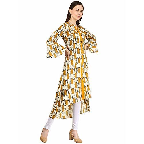 JAIPUR ATTIRE Women's Cotton Tail Cut Kurti (JSF09_L, Large, Yellow)