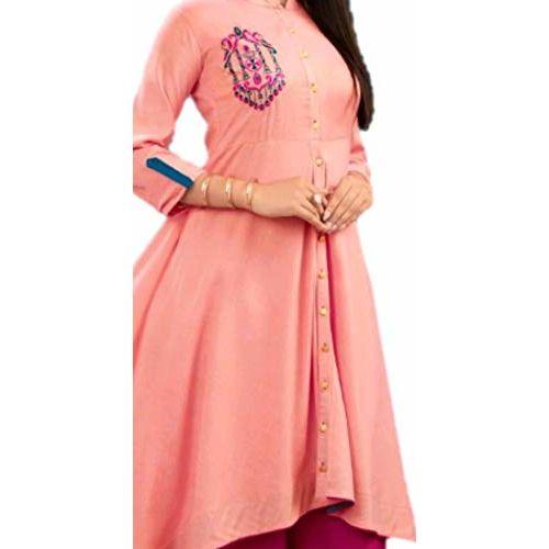 Diya Trends Women's Rayon Umbrella Kurti Peach Pink
