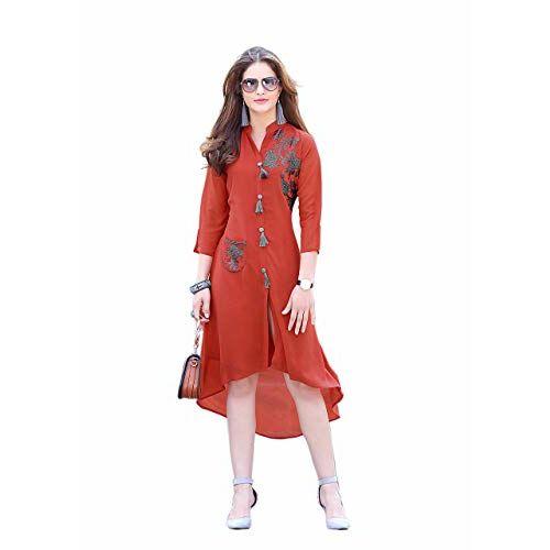 Ladies N Linen Women's Georgette Readymade Designer Kurta Sage Maroon Size_XL_42