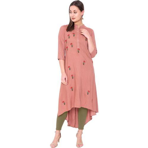Bright Cotton Kurti for Women Embroidered (2XL, Dark Peach)