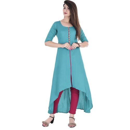 CHARMANT Women Solid Trail Cut Kurta(Blue)