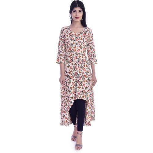 lavi fashion Women Floral Print Trail Cut Kurta(White)