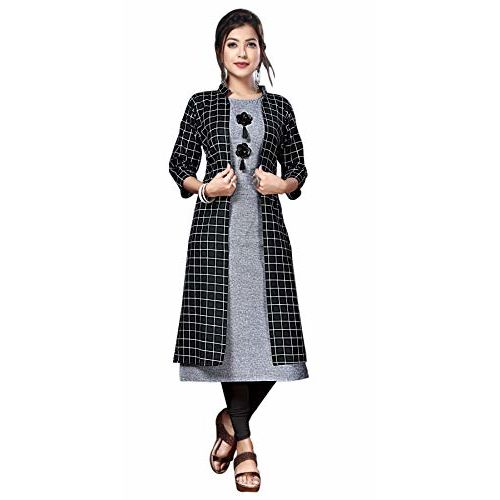 Generic Women's A-Line Cotton Kurti with Shrug (Large, Grey with Black)