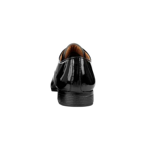 DERBY KICKS black patent leather lace-up derbys
