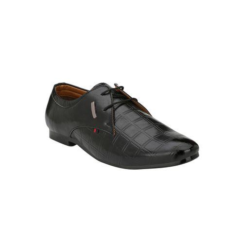 DERBY KICKS black leatherette lace-up derbys