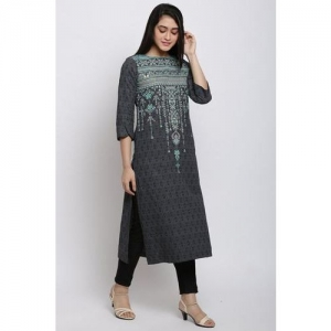 Black Cotton Flax Straight Kurta