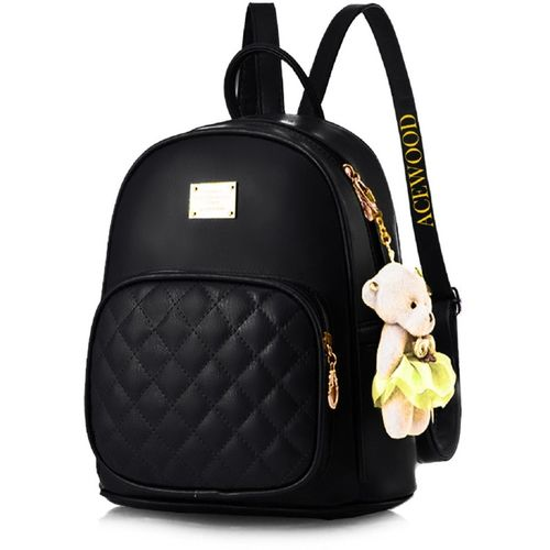 Acewood PU Leather Backpack School Bag Student Backpack Women Travel bag 9 L Backpack(Black)