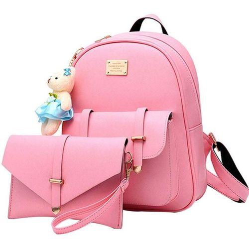 SaleBox Pink PU Leather Envelope & Teddyb 10 L Backpack