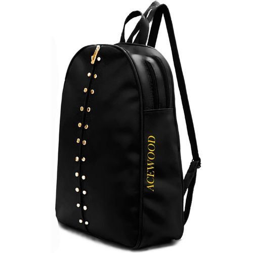 MUSRAT Black PU Leather Student Backpack