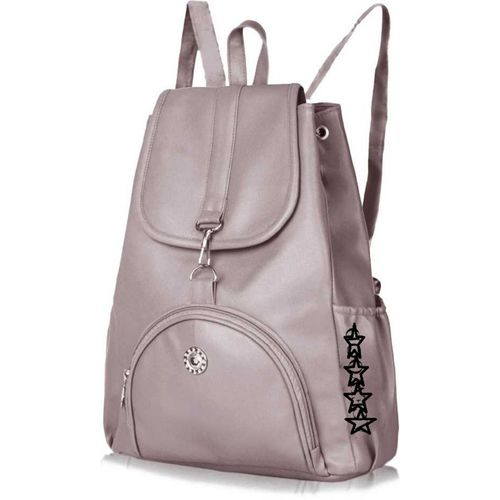 SAHAL GIRLS PU Leather Backpack School Bag Student Backpack Women Travel bag collage bags 10 L Backpack(Grey)