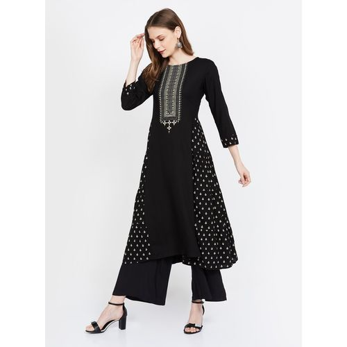 GLOBAL DESI Printed A-line Kurta with Contrast Yoke