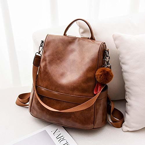 Cheruty Brown PU Leather Anti-theft Casual Backpack