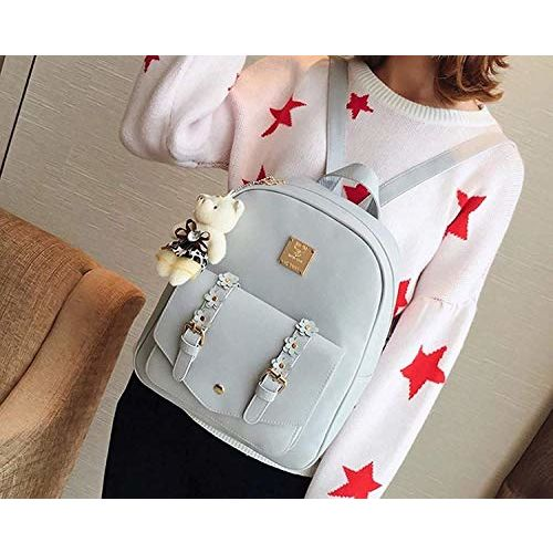 Floki Fashion Girls 3-PCS Fashion Cute Mini Leather Backpack sling & pouch set for Women(grey)