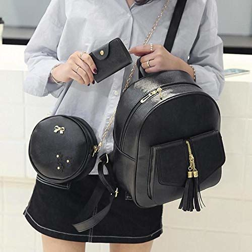 Alice Black 3-pieces Fashion PU Leather Backpack