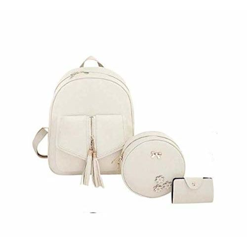 Alice Womens Backpack 3-pieces Fashion PU Leather Shoulder Bags Fashion Ladies Travel Bookbag (cream)