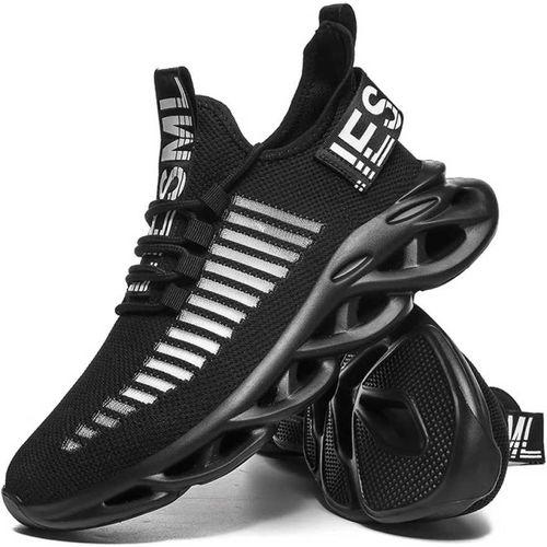 Clymb Mens Zig Zag Black Running Sports Shoes
