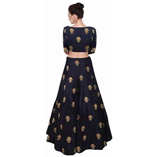 bless you Girls' Taffeta Silk Semi-Stitched Lehenga Choli (bs_chmachma blue kids02_Blue_10-15 Years)