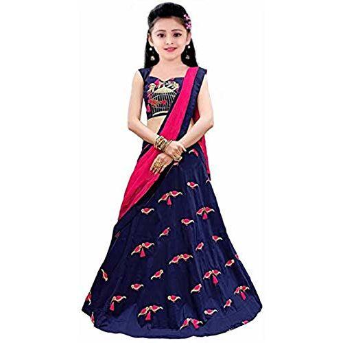 Keshav enterprise Girls Taffeta Silk Semi-stitched Girl's Lehenga Choli for 8 to 15 Year girl's(Dark Blue) Free Size