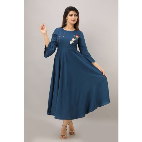 SKY SHOPPIE Women Solid Anarkali Kurta(Blue)