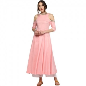 Sassafras Women Applique Anarkali Kurta(Pink)