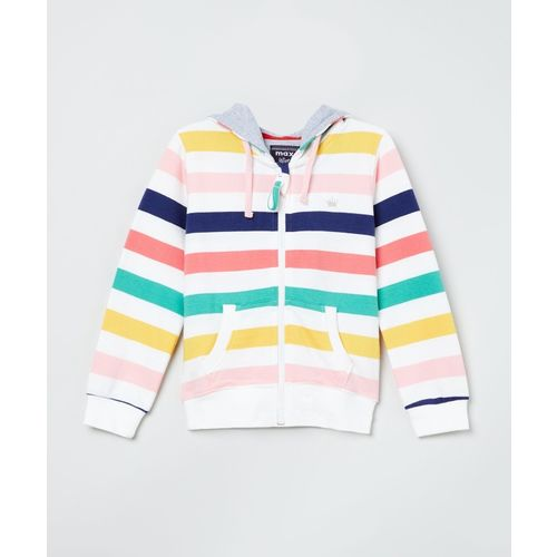 Max Full Sleeve Striped Girls Sweatshirt