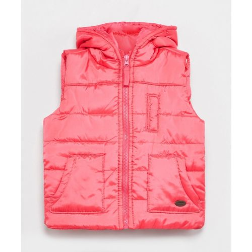 Max Sleeveless Solid Baby Girls Jacket
