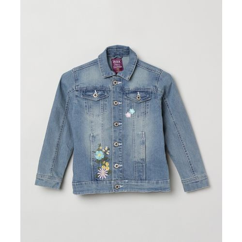 Max Full Sleeve Washed, Applique Girls Jacket