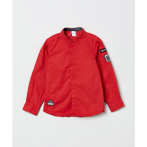 Max Boys Solid Casual Red Shirt