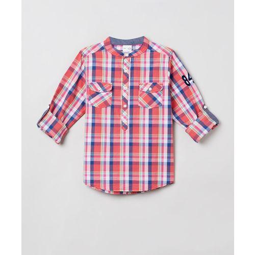 Max Boys Checkered Casual Red Shirt