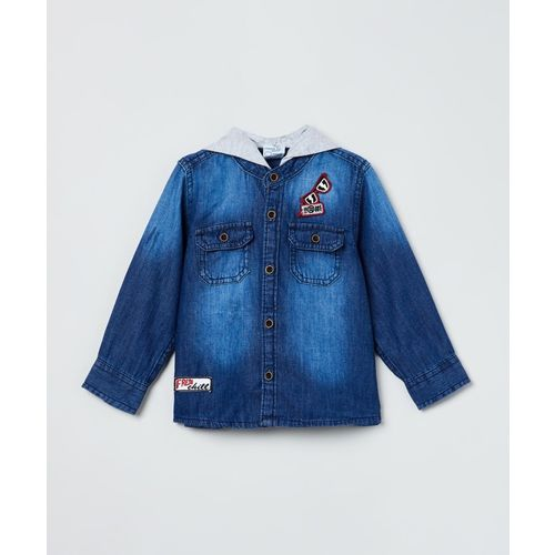 Max Baby Boys Washed Casual Blue Shirt