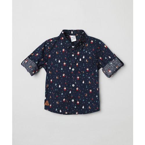 Max Baby Boys Graphic Print Casual Blue Shirt