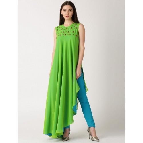 Buy IndusDiva by Neeta Lulla Green & Blue Churidar Kurta online ...