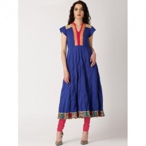 IndusDiva Navy Blue Cotton Anarkali Kurta by Priyadarshini Rao