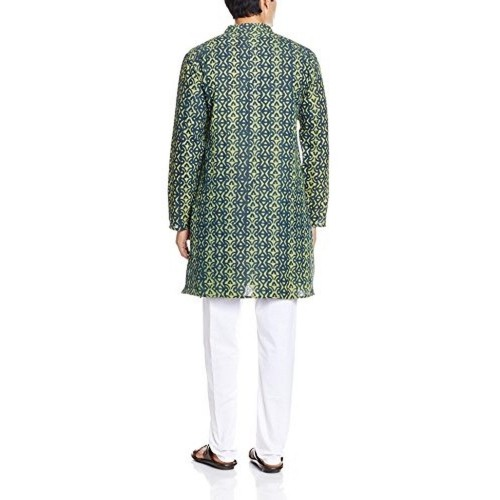 Veda Men's Green Printed Knee Long Cotton Kurta