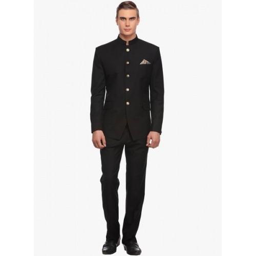 Luxurazi Black Solid Indian Wedding Suit