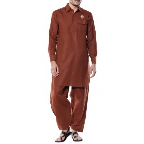 AUGUST MOON Brown Cotton Silk Pathani Salwar Set