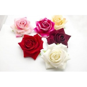 Sanjog Vintage Rose Hair Flower Clip and Pin Brooch Pin-Pack of 6