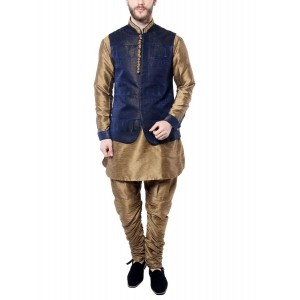 Mohanlal Sons Men's Navy Blue & Beige Silk Kurta Pyjama