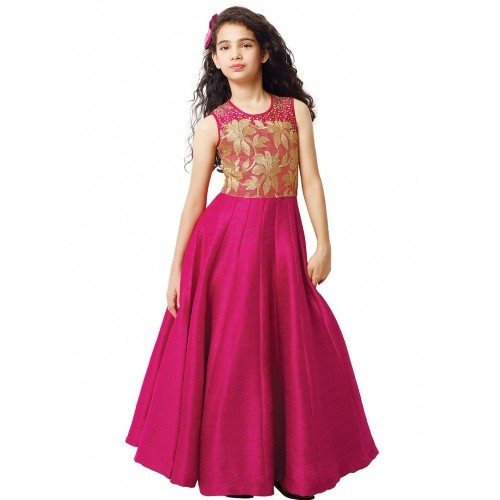156b1eee8 Buy G3 Exclusive Pink Raw Silk Party Wear Girls Gown online ...