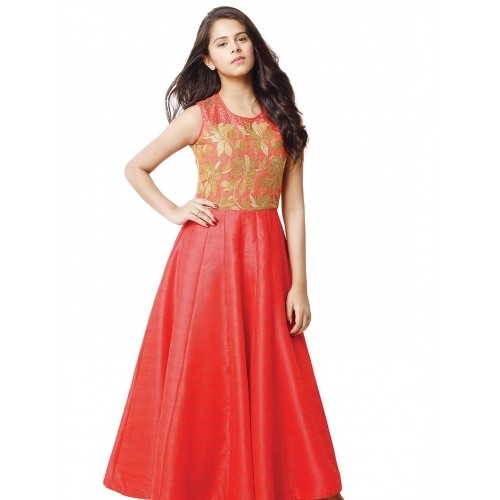 269b22c91 Buy G3 Exclusive Red Party Wear Raw Silk Girls Gown online