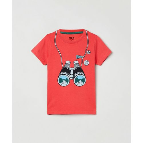 Max Boys Graphic Print Pure Cotton T Shirt(Red, Pack of 1)
