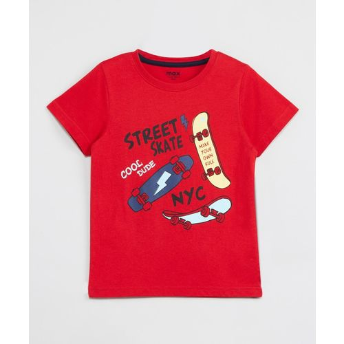 Max Boys Printed Pure Cotton T Shirt(Red, Pack of 1)
